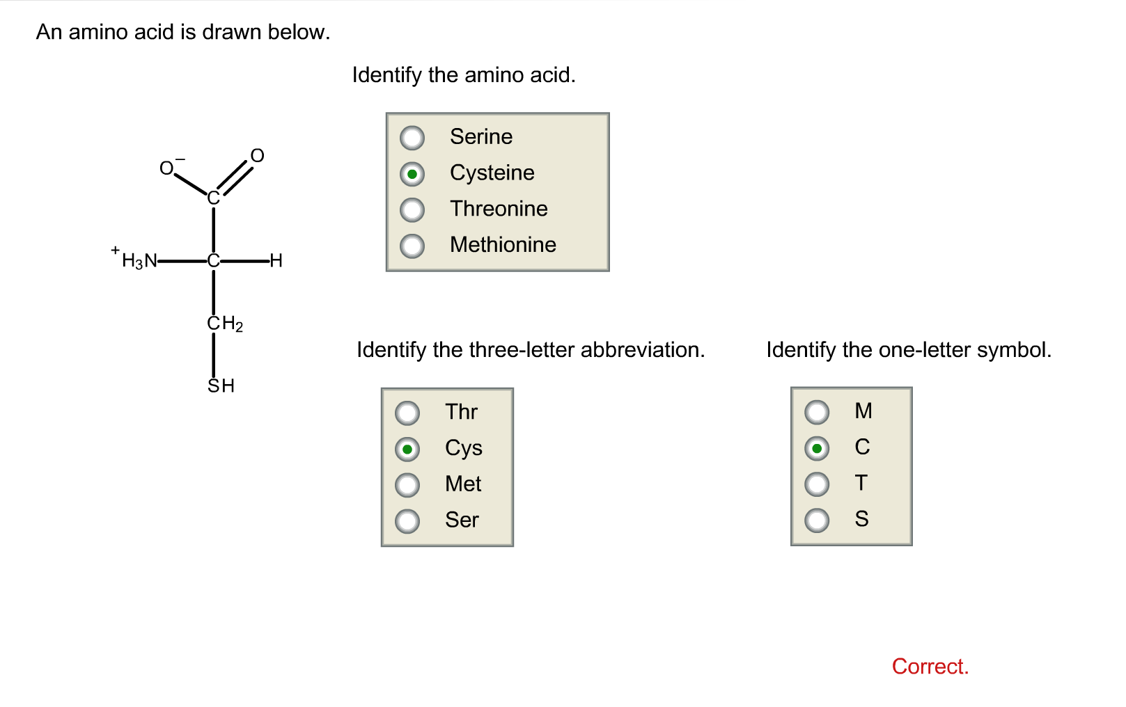 An amino acid is drawn below.